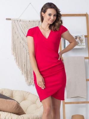Sukienka wizytowa  kopertowa ołówkowa LETNIA ALANA drapowanie talii malinowa PROMOCJA