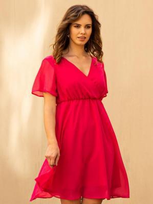 Sukienka rozkloszowana szyfonowa DENISA odcinana amarantowa