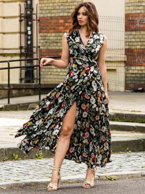Sukienka rozkloszowana kopertowa long FIORELLA  czarna w duże polne kwiaty PROMOCJA