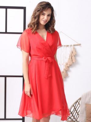 Sukienka na wesele szyfonowa kopertowa NATALY letnia czerwona PROMOCJA