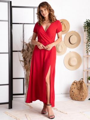 Sukienka  na wesele długa z kopertowym dekoltem FIOMENA long czerwona