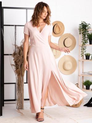 Sukienka na wesele długa z rozcieciem FIOMENA puder róż PROMOCJA