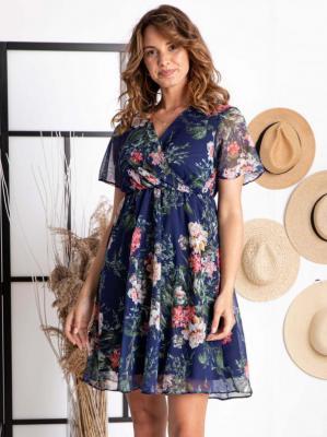 Sukienka w kwiaty rozkloszowana szyfonowa DENISA odcinana granatowa w kwiaty PROMOCJA