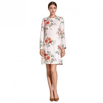 Colett Wzorzysta sukienka w literę A Sukienki Biały Dorośli Kobiety