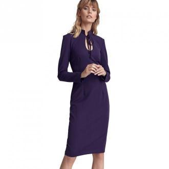 Colett Sukienka ze stójką i dekoltem typu łezka Sukienki Fioletowy
