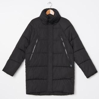 House - Pikowany płaszcz z wysokim kołnierzem - Czarny