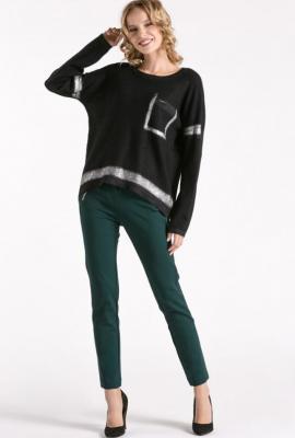 Sweter z połyskującymi wstawkami