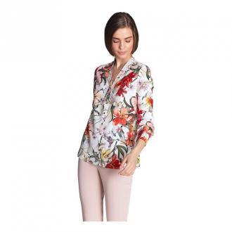 Nife Bluzka ze złotymi napami w kwiaty Bluzki i koszule Biały Dorośli