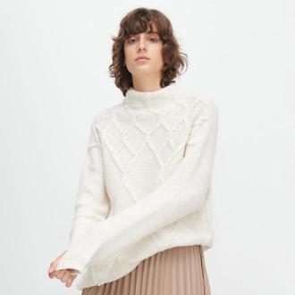 Reserved - Sweter ze sztucznymi perłami - Kremowy