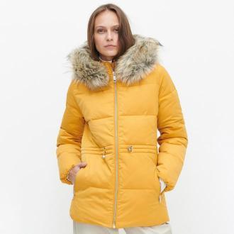 Reserved - Ocieplana kurtka ze sztucznym futrem - Żółty