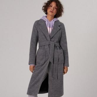 Cropp - Długi płaszcz z wełną - Szary