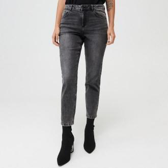 Mohito - Jeansy straight fit z przetarciami - Czarny