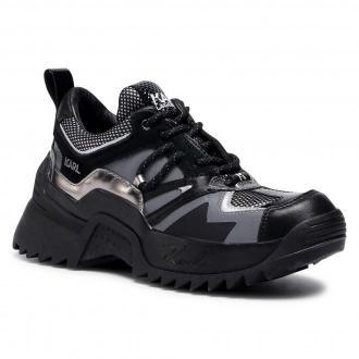 Sneakersy KARL LAGERFELD - KL61535 Black Lthr/Text W/Silver