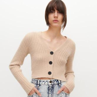 Reserved - Krótki sweter - Beżowy