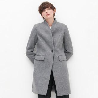 Reserved - Gładki płaszcz - Jasny szary