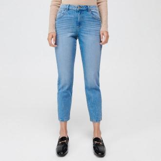 Mohito - Jeansy straight fit z przetarciami - Niebieski