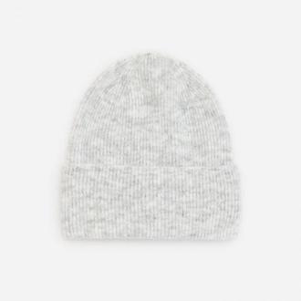 Reserved - Prążkowana czapka beanie - Jasny szary
