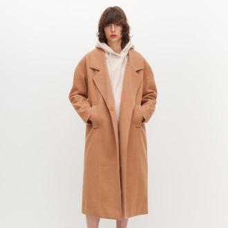 Reserved - Płaszcz o prostym kroju - Brązowy