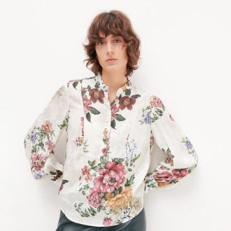 Reserved - Wiskozowa bluzka w kwiaty - Kremowy