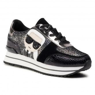 Sneakersy KARL LAGERFELD - KL61932  Black Glitter W/Silver