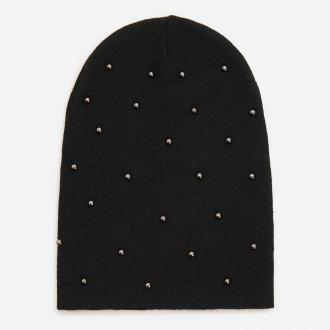 Reserved - Czarna czapka ze srebrnymi perełkami - Czarny