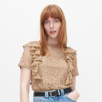 Reserved - Koronkowa bluzka z falbanami - Beżowy