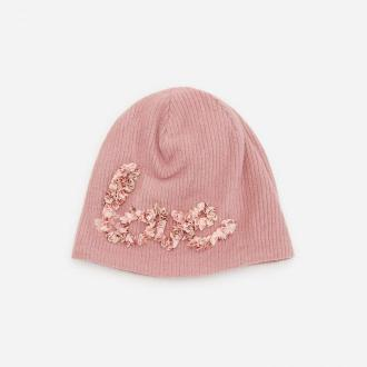 Reserved - Dzianinowa czapka z aplikacją - Różowy