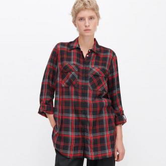 Reserved - Długa koszula w kratę - Czarny