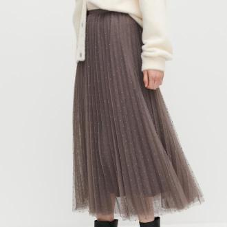 Reserved - Plisowana spódnica w kropki - Beżowy