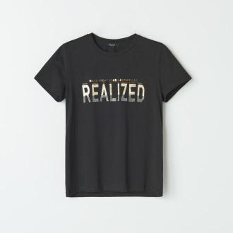 Mohito - Koszulka z błyszczącym napisem - Czarny