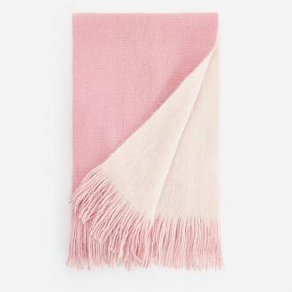 Reserved - Dwustronny szalik z frędzlami - Różowy