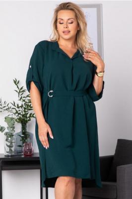 Sukienka na świeta swobodna z paskiem duże rozmiary ANIESA butelkowa zieleń