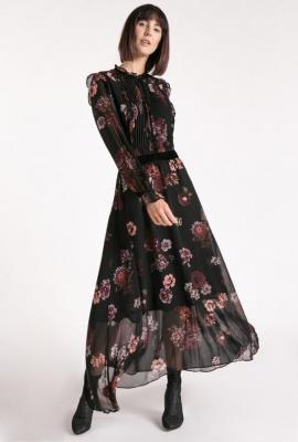 Sukienka maxi z plisowanym przodem