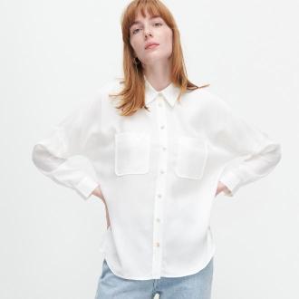 Reserved - Gładka koszula z lyocellu - Kremowy
