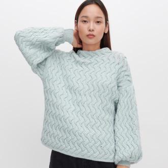 Reserved - Sweter z ozdobnym splotem - Zielony
