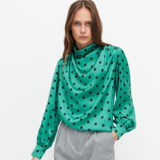 Reserved - Wiskozowa bluzka w groszki - Zielony