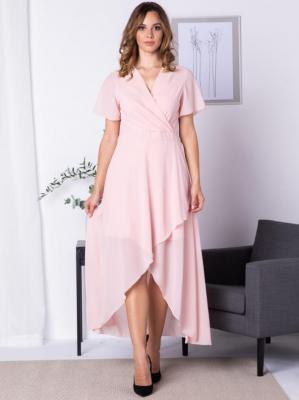Sukienka do ślubu z dłuższym tyłem szyfonowa MONIKA pudrowy róż