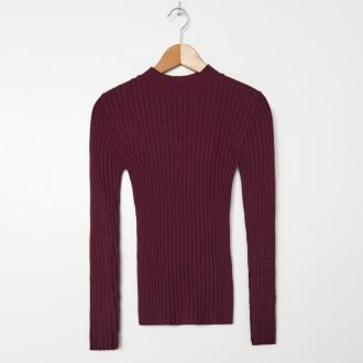 House - Prążkowany sweter z półgolfem - Bordowy