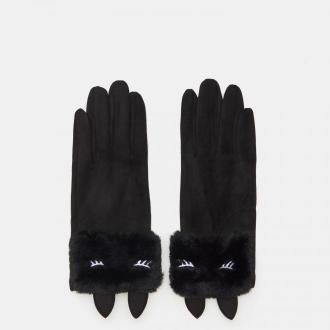 Sinsay - Rękawiczki ze sztucznym futerkiem - Czarny