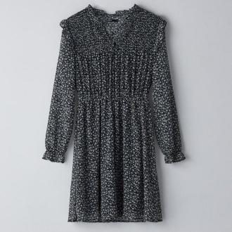 Cropp - Wzorzysta sukienka z falbankami - Czarny