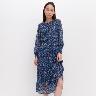 Reserved - Sukienka z plisowanym dołem - Niebieski
