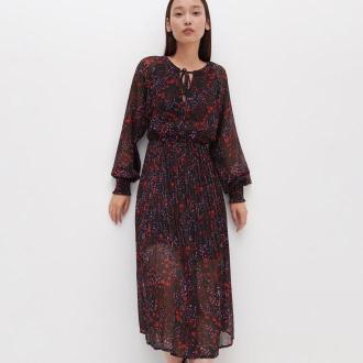 Reserved - Sukienka z plisowanym dołem - Czarny