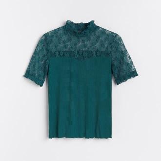 Reserved - Bluzka z ozdobną koronką - Khaki