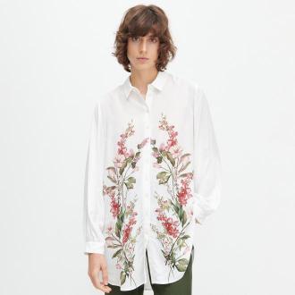 Reserved - Koszula z roślinnym printem - Kremowy