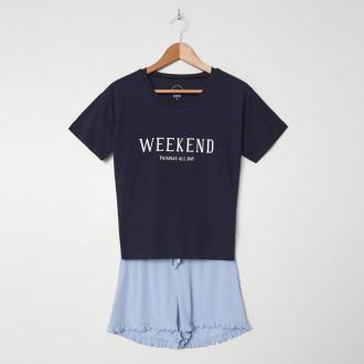 House - Dwuczęściowa piżama z nadrukiem - Niebieski