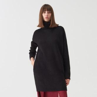 Sinsay - Długi dzianinowy sweter z golfem - Czarny