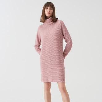Sinsay - Długi sweter oversize z golfem - Różowy