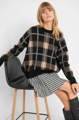 Sweter oversize w kratę