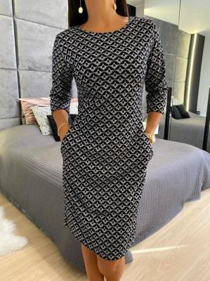 Czarna Sukienka w Szary Wzór 5059-416