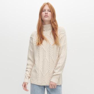 Reserved - Sweter z ozdobnym splotem - Kremowy